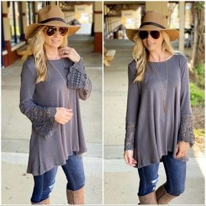 Charcoal Lace sleeve tunic